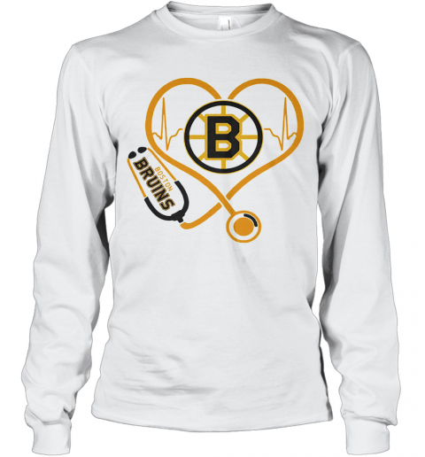 Heartbeat Nurse Love Boston Bruins T-Shirt Long Sleeved T-shirt