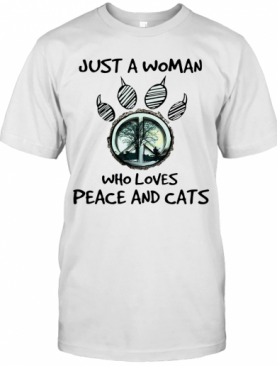 Hippie Just A Woman Who Loves Peace And Cats T-Shirt