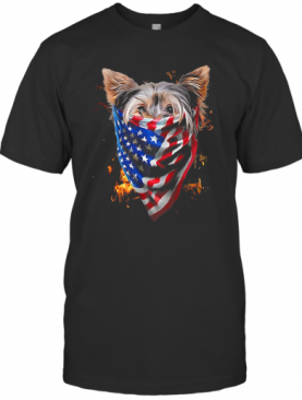Yorkshire Terrier Fire In Sight American Flag T-Shirt