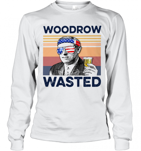 Beautiful American Flag Woodrow Wasted T-Shirt Long Sleeved T-shirt