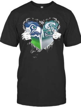 Blood Inside Seattle Seahawks And Seattle Mariners Heart T-Shirt