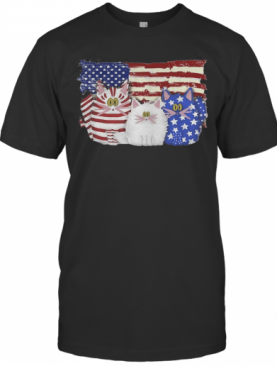Cat 2 Flag US American Flag Independence Day Veteran T-Shirt