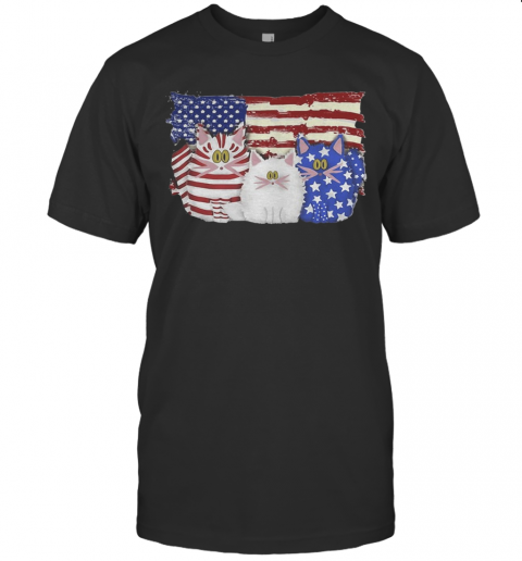 Cat 2 Flag US American Flag Independence Day Veteran T-Shirt Classic Men's T-shirt