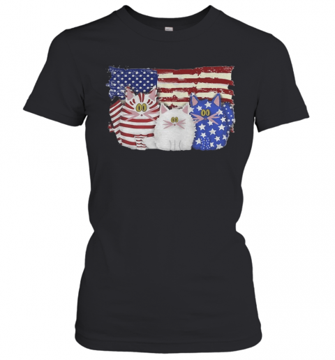 Cat 2 Flag US American Flag Independence Day Veteran T-Shirt Classic Women's T-shirt