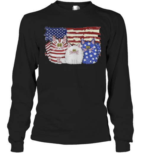 Cat 2 Flag US American Flag Independence Day Veteran T-Shirt Long Sleeved T-shirt