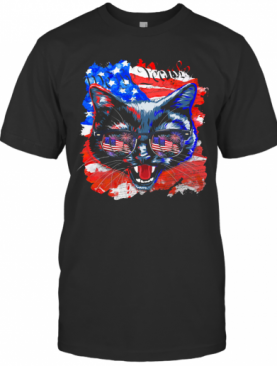 Cat American Flag Veteran Independence Day T-Shirt