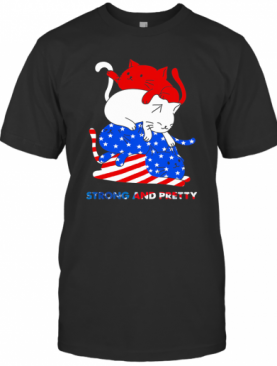 Cat Strong And Pretty American Flag Veteran Independence Day T-Shirt