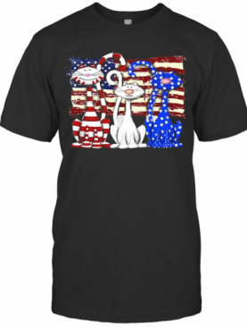Cats 2 Flag US American Flag Independence Day Veteran T-Shirt