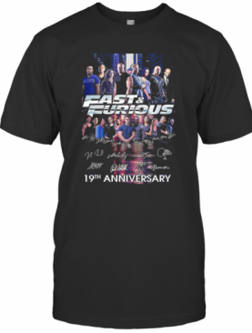 Fast And Furious 19Th Anniversary Characters Signatures T-Shirt