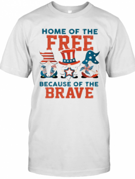 Home Of The Free Because Of The Brave Santa American Flag Veteran Independence Day T-Shirt