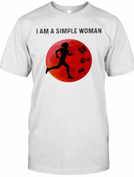 I Am A Simple Woman Running Paw Wine T-Shirt