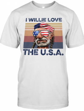 I Willie Love The USA American Flag Veteran Independence Day Vintage T-Shirt