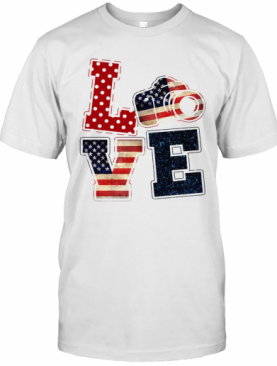 Love Photographer American Flag Veteran Independence Day T-Shirt