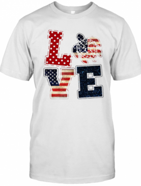 Love Turtle American Flag Veteran Independence Day T-Shirt