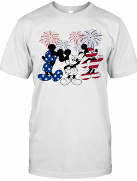 Mickey Mouse American Flag Firework Independence Day T-Shirt