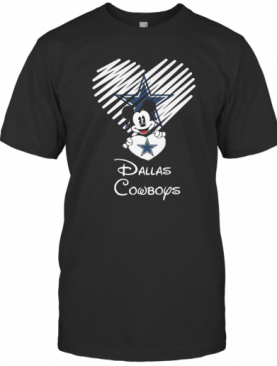 Mickey mouse hug heart dallas cowboys logo shirt T-Shirt
