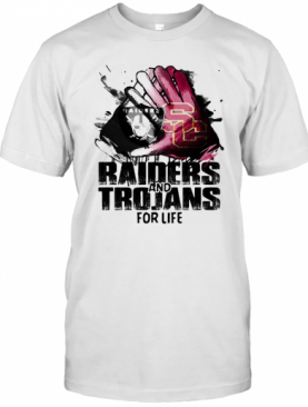 Oakland Raiders And Southern California Trojans For Life Art T-Shirt