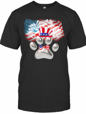 Paw American Flag Veteran Independence Day T-Shirt