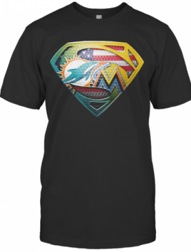 Superman Miami Dolphins American Flag Independence Day T-Shirt