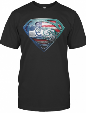 Superman Seattle Seahawks And Seattle Mariners American Flag Independence Day T-Shirt