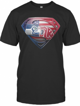 Superman Seattle Seahawks And Washington State Cougars American Flag Independence Day T-Shirt
