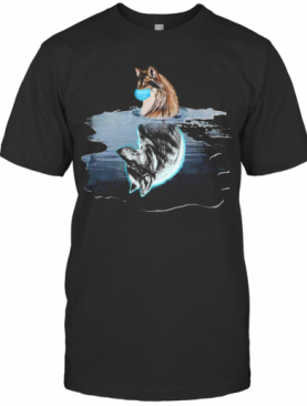 Wolf Reflection In The Water Mask Covid 19 T-Shirt