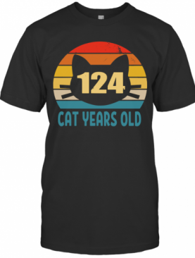 124 Cat Years Old Vintage T-Shirt