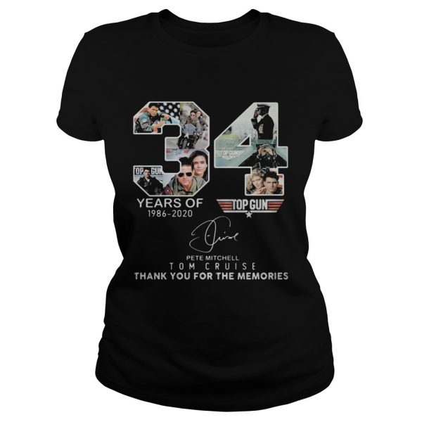 34 years of 1986 2020 top gun pete mitchell tom cruise thank you for the memories signature  Classic Ladies