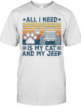 All I Need Is My Paw Cats And My Jeep Vintage Retro T-Shirt