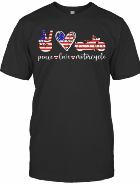 American Flag Peace Love Motorcycle T-Shirt