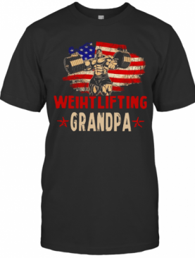 American Flag Weightlifting Grandpa T-Shirt