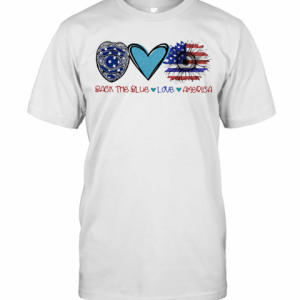 Back The Blue Police Love Heart Sunflower American Flag Veteran Independence Day T-Shirt Classic Men's T-shirt