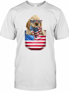 Buff Cocker Spaniel Pocket American Flag Independence Day T-Shirt