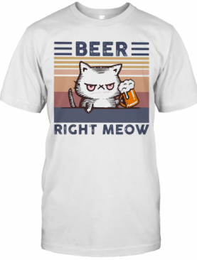 Cat Beer Right Meow Vintage T-Shirt