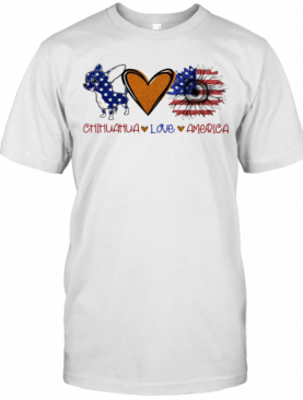 Chihuahua Love Heart Sunflower American Flag Veteran Independence Day T-Shirt