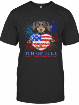 Dachshund Hug Heart Love 4Th Of July Happy Independence Day Firework American Flag T-Shirt