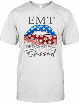Diamond Lips Emt Red White And Blessed T-Shirt