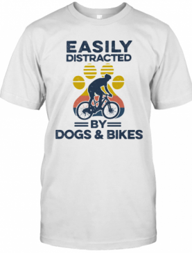 Easily Distracted By Dogs And Bikes Footprint Vintage Retro T-Shirt