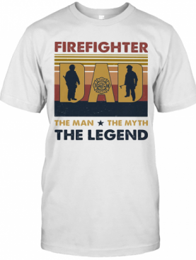 Firefighter Dad The Man The Myth The Legend Happy Father'S Day Vintage Retro T-Shirt