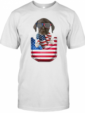 German Shorthaired Pointer Pocket American Flag Independence Day T-Shirt
