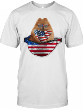 German Spitz Waist Pack American Flag Independence Day T-Shirt