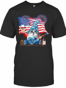 Gnomes Wine Guitar American Flag Veteran Independence Day T-Shirt