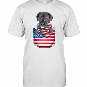 Great Dane Pocket American Flag Independence Day T-Shirt Classic Men's T-shirt