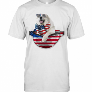 Great Pyrenees Waist Pack American Flag Independence Day T-Shirt Classic Men's T-shirt