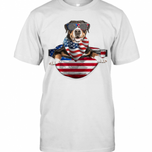 Greater Swiss Mountain Waist Pack American Flag Independence Day T-Shirt Classic Men's T-shirt