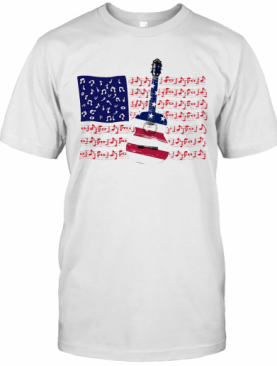Guitar Music Note American Flag Independence Day T-Shirt