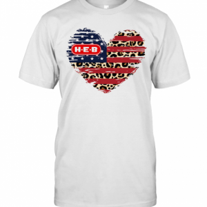HEB American Flag Veteran Independence Day Heart T-Shirt Classic Men's T-shirt