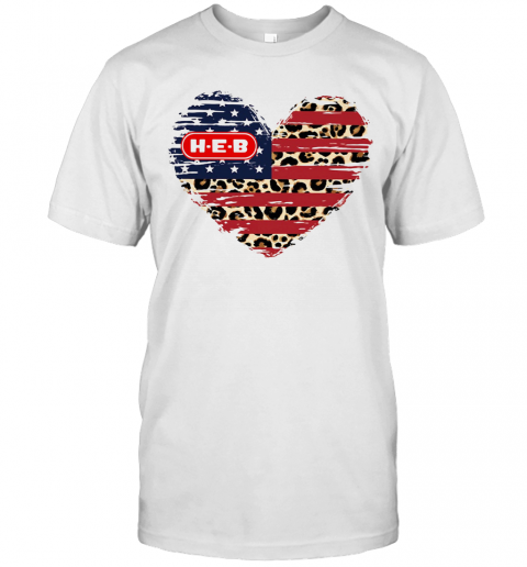 HEB American Flag Veteran Independence Day Heart T Shirt Classic Mens T shirt