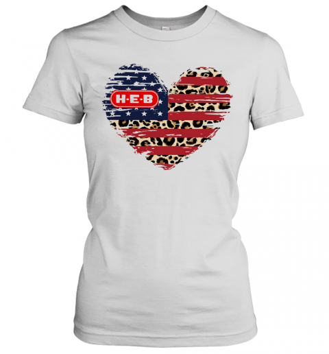 HEB American Flag Veteran Independence Day Heart T-Shirt Classic Women's T-shirt