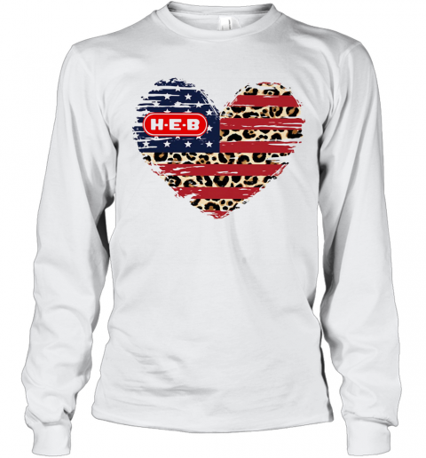 HEB American Flag Veteran Independence Day Heart T-Shirt Long Sleeved T-shirt